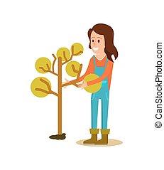 Female farmer planting tree vector icon