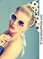 female fashion - Beautiful young woman with pin-up make-up ...