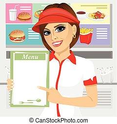 female fast food restaurant employee holding a menu