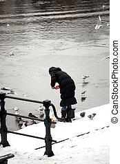 Female feeding the pigeons.