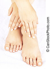 Female feet and hands - Soft female feet and hands with...