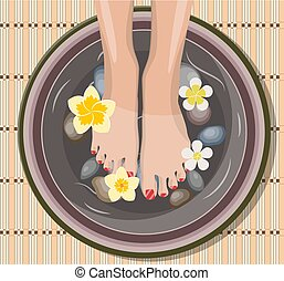 Female feet at spa pedicure procedure.