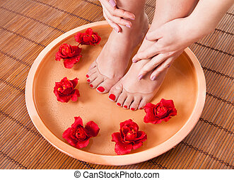 Female Feet Getting Aroma Therapy - Close-up Of Female Feet...