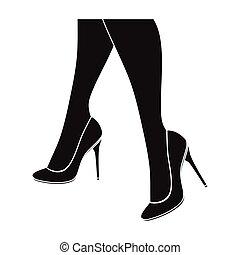 Female feet in heels. Women's shoes single icon in black...