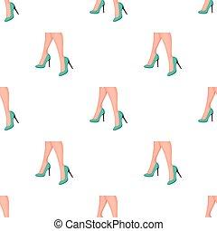 Female feet in heels. Women's shoes single icon in cartoon...