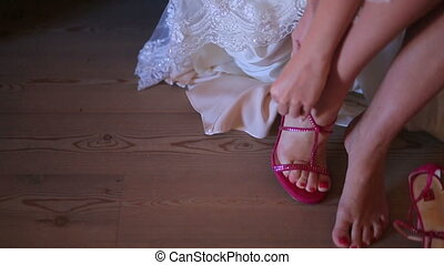 Female Feet in Red Shoes