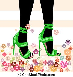Female feet in sandals with high heels. Vector.