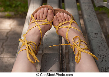 female feet in sandals
