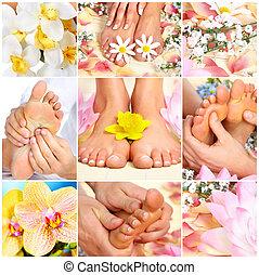 feet massage - Female feet massage and flowers. Spa
