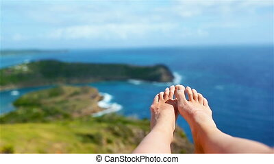 Female feet on white sandy beach in famous place - Female ...