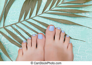 Female feet with blue pedicure.