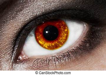 female fiery eye closeup with gothic makeup. beautiful eye