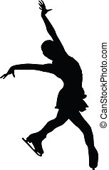 Female Figure Skater Silhouette - A silhouette of a female...