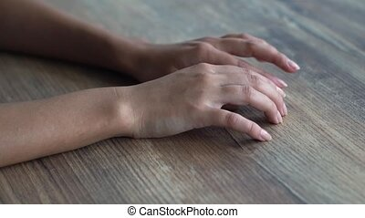 Female Fingers Tapping on the Table - Woman Waiting for...