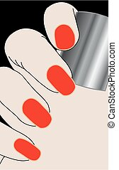 Female fingers with red varnish