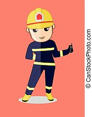 Female Firefighter Showing a Phone