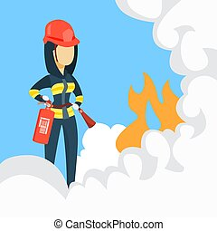 Female firefighter with extinguisher.