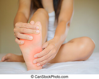 Female foot pain, Health care concept.