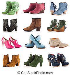female footwear. female shoes over white - female footwear....