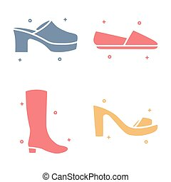 Female Footwear Shoes Fashion Vector Icon