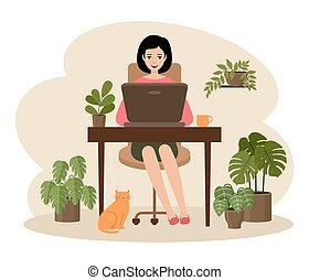 Female freelancer is working on a laptop. Distance job. ...