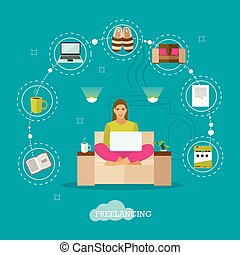 Female freelancer working remotely from her room. Freelance concept vector illustration in flat style