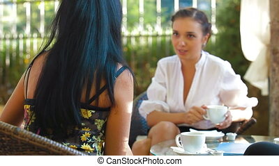 Female Friends at Outdoor Cafe