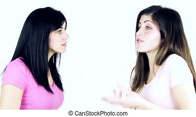female friends discussing arguing