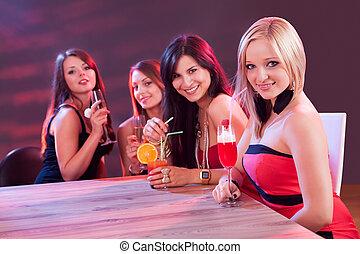 Female friends enjoying a night out