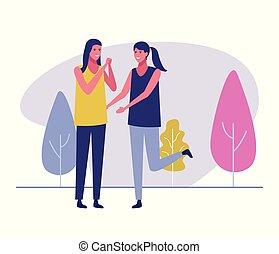 friends meeting outdoors - female friends meeting outdoors...