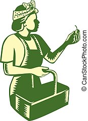 Female Fruit Picker Worker Basket Woodcut