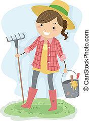 Female Gardener - Illustration of a Girl Carrying Gardening...