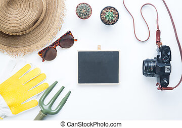 Female gardener items with cactus and camera, Flay lay style