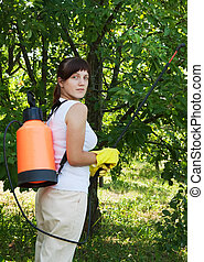 Female gardener spraying apple trees