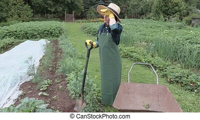 Female gardener with spade shovel near wheelbarrow