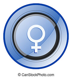 Female gender sign blue glossy web icon