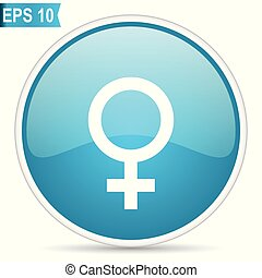 Female gender sign blue vector icon