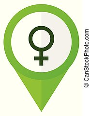 Female gender sign green flat design pointer vector icon isolated on white background