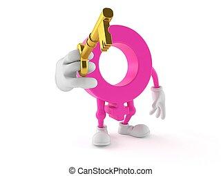 Female gender symbol character with golden door key