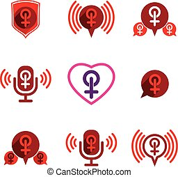 Female gender vector icons set.