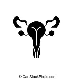 Female genitals black icon, vector sign on isolated...