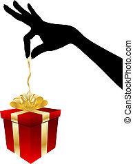 Female giving gift