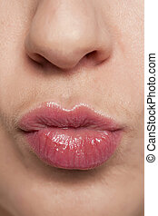 female glossy lips