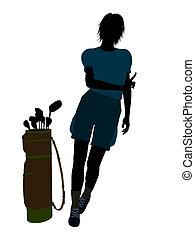 Female Golf Player Illustration Silhouette
