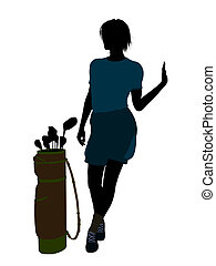 Female Golf Player Illustration Silhouette