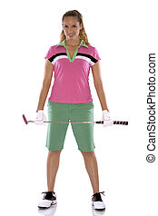 female golfer - pretty golf woman posing on white isolated...