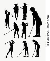 Female golfer sport silhouettes