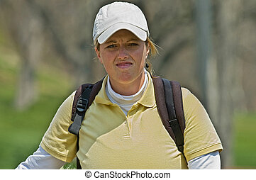 Female Golfer unhappy with her round
