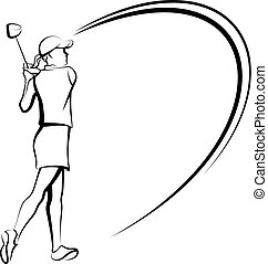 Female Golfer with Swooping Lines