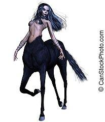 Female Gothic Centaur - Female gothic centaur with black...